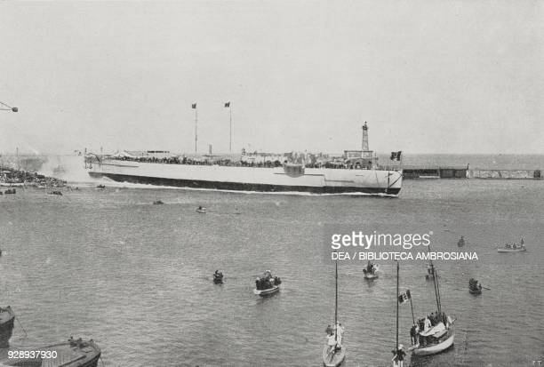 Moment of the launch of the dreadnought Caracciolo of the Italian Royal Navy on May 12 Castellammare di Stabia Italy photo by F Sbonzilli from...