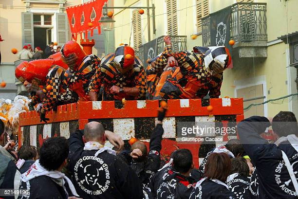 A moment of the Orange Battle at the 2005 Ivrea Carnival on February 6 2005 in Ivrea Italy During the Orange Battle 3600 quintals of oranges are used...