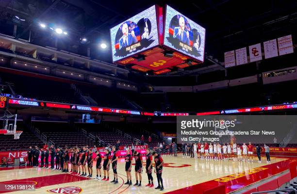 Moment off silence for Hall of fame and former USC Trojan Paul Westphal who passed away at the age of 70c prior to a NCAA basketball game between the...