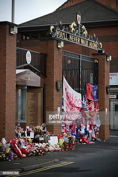 Momentos wreaths and scarves placed Shankly Gates and the memorial at Anfield in memory to the 1989 Hillsborough stadium disaster where 96 Liverpool...