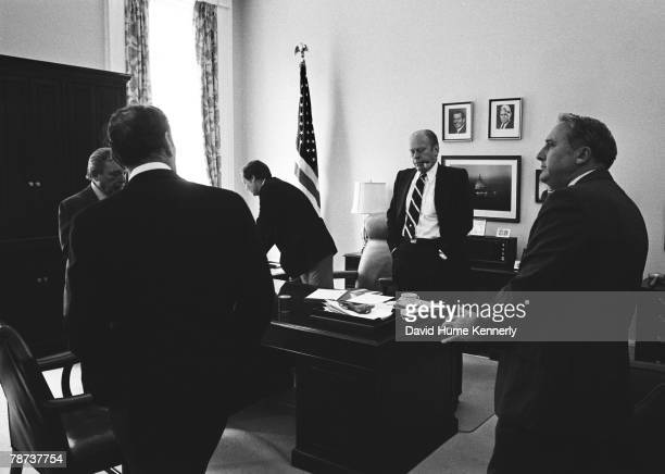 Moments after he signed the pardon President Ford and staffers begin hearing news of the congressional reaction chief speechwriter Robert Hartmann...
