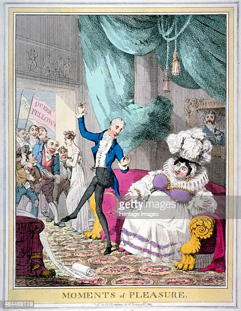 'Moments of pleasure' 1820 Queen Caroline seated on a couch receives the news of the Bill of Pains and Penalties being dropped and Alderman Matthew...