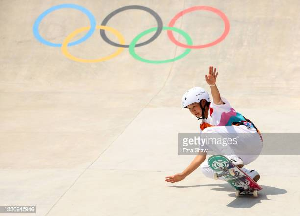 Momiji Nishiya of Team Japan competes during the Women's Street Final on day three of the Tokyo 2020 Olympic Games at Ariake Urban Sports Park on...
