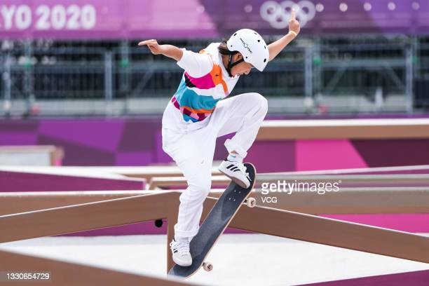 Momiji Nishiya of Team Japan competes during the Women's Street Skateboarding Final on day three of the Tokyo 2020 Olympic Games at Ariake Urban...