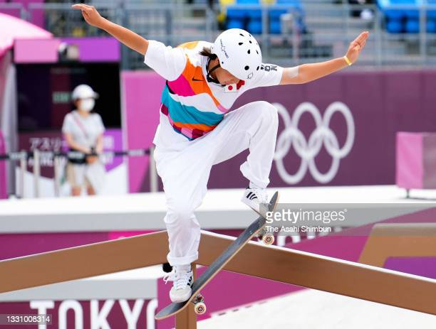 Momiji Nishiya of Team Japan competes in the Women's Street final on day three of the Tokyo 2020 Olympic Games at Ariake Urban Sports Park on July...