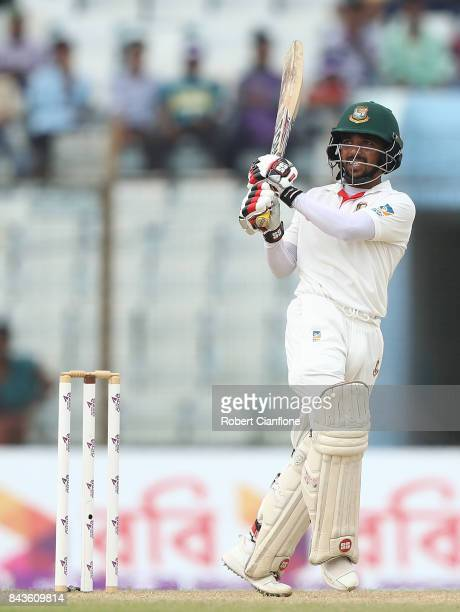 Mominul Haque of Bangladesh bats during day four of the Second Test match between Bangladesh and Australia at Zahur Ahmed Chowdhury Stadium on...