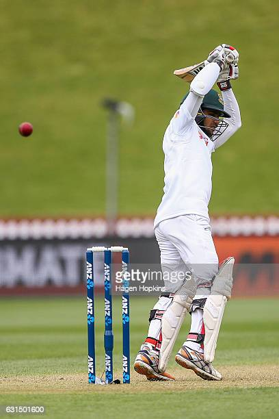 Mominul Haque of Bangladesh bats during day one of the First Test match between New Zealand and Bangladesh at Basin Reserve on January 12 2017 in...