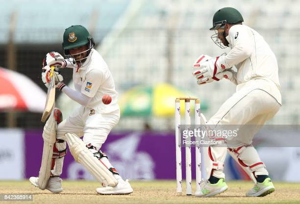 Mominul Haque of Bangladesh bats during day one of the Second Test match between Bangladesh and Australia at Zahur Ahmed Chowdhury Stadium on...
