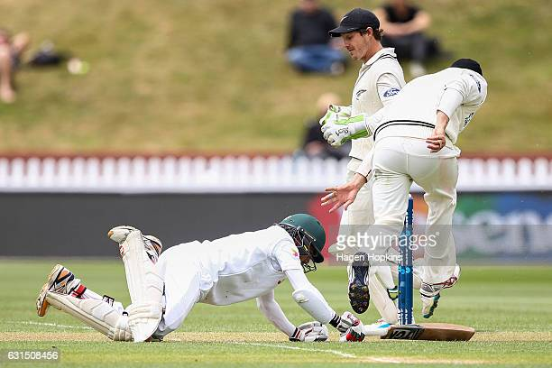 Mominul Haque of Bangladesh makes his ground during day one of the First Test match between New Zealand and Bangladesh at Basin Reserve on January 12...