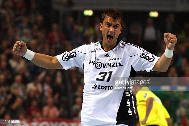 Momir Ilic of Kiel celebrates after scoring during the Toyota Handball Bundesliga match between THW Kiel and Frisch Auf Goeppingen at the Sparkassen...