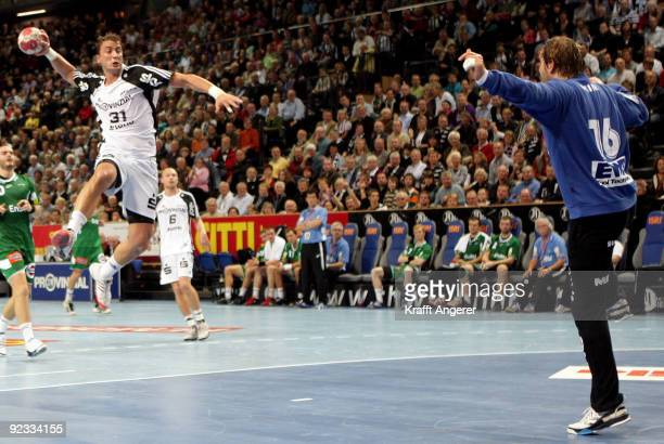 Momir Ilic of Kiel in action during the Toyota Handball Bundesliga match between THW Kiel and Frisch Auf Goeppingen at the Sparkassen Arena on...