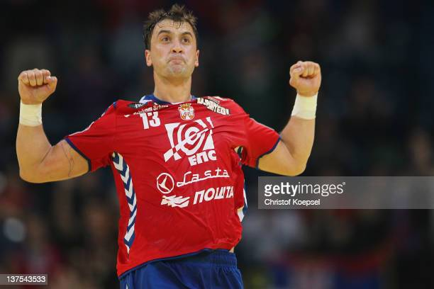 Momir Ilic of Serbia celebrates a goal during the Men's European Handball Championship second round group one match between Serbia anhd Germany at...