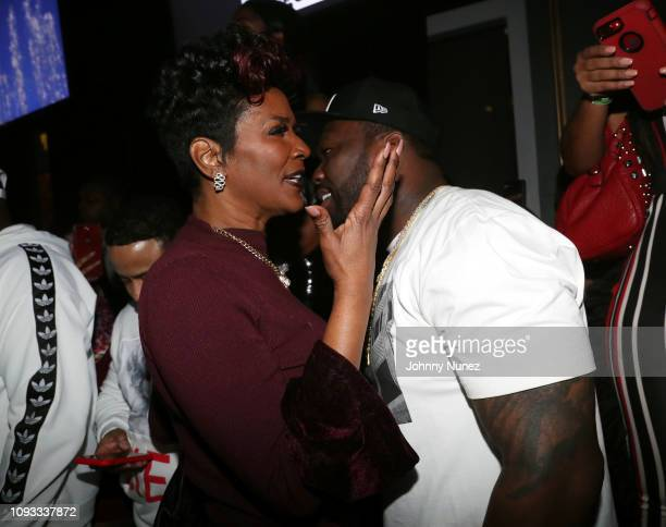 Momma Dee and 50 Cent attend The Big Game Day Party Hosted by 50 Cent Kevin Hart at Oak on February 2 2019 in Atlanta Georgia