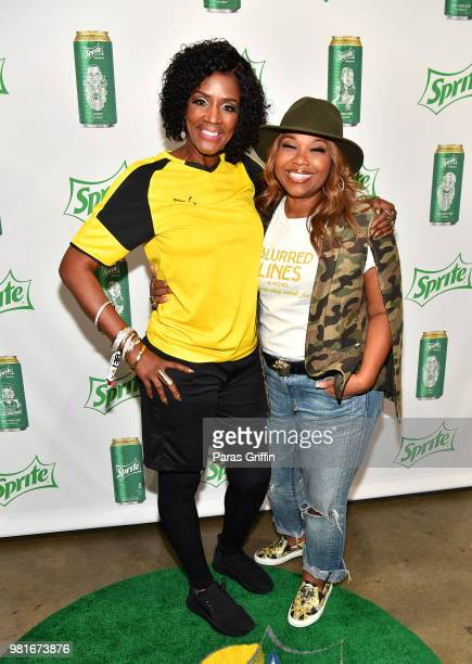 Momma Dee and Mona ScottYoung attend the Celebrity Dodgeball Game at 2018 BET Experience Fan Fest at Los Angeles Convention Center on June 22 2018 in...