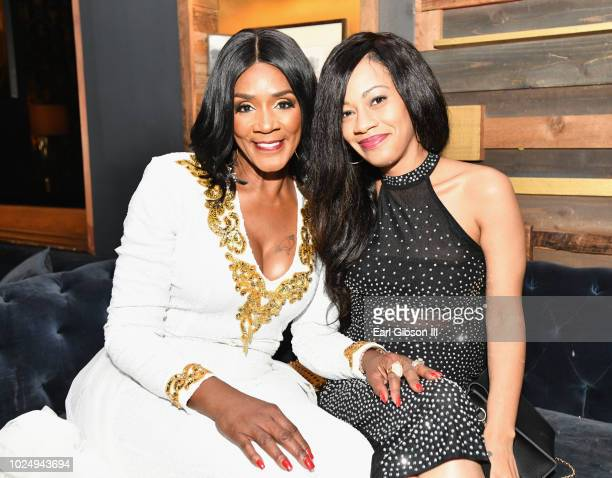 Momma Dee and Quani attend the premiere of WE tv's Marriage Boot Camp Reality Stars at HYDE Sunset Kitchen Cocktails on August 28 2018 in West...
