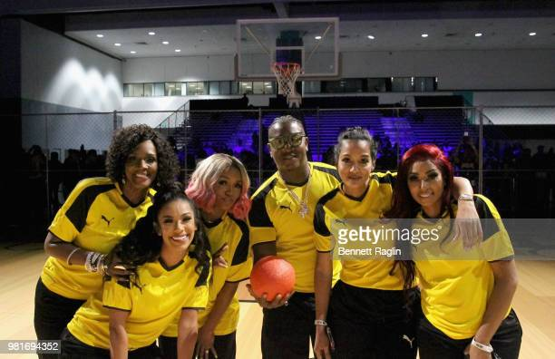 Momma Dee Erica Mena Rasheeda Yung Joc Estelita Quintero and Karlie Redd attend the Celebrity Dodgeball Game at 2018 BET Experience Fan Fest at Los...