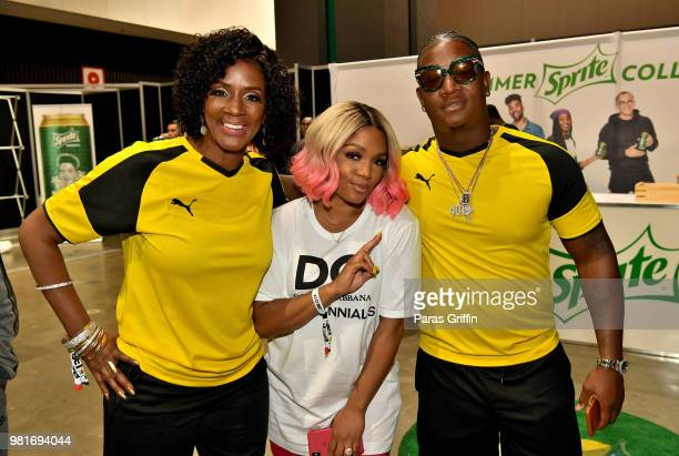 Momma Dee Rasheeda and Yung Joc attend the Celebrity Dodgeball Game at 2018 BET Experience Fan Fest at Los Angeles Convention Center on June 22 2018...