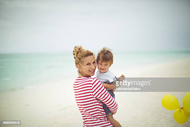 mommy and me - mothers day beach stock pictures, royalty-free photos & images