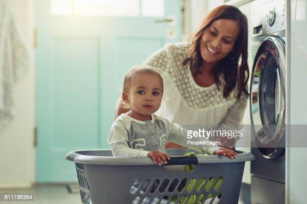 Mommy doesn't know her washing basket is also my ship