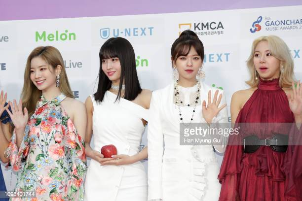 MoMo and Jeongyeon of girl group TWICE attend the 8th Gaon Chart K-Pop Awards on January 23, 2019 in Seoul, South Korea.
