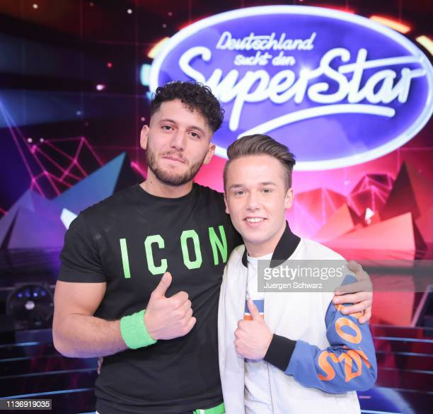 Momo Chahine and Jonas Weisser pose after the second event show of the tv competition Deutschland sucht den Superstar at Coloneum on April 13 2019 in...
