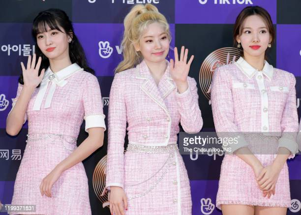 Momo, Dahyeon, Nayeon of TWICE arrives at the photocall for the 34th Golden Disc Awards on January 05, 2020 in Seoul, South Korea.
