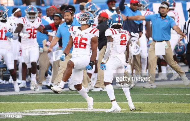 MoMo Sanogo of the Ole Miss Rebels celebrates after a fourth down stop in the 42-41 OT win over the Kentucky Wildcats at Commonwealth Stadium on...