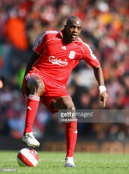 Momo Sissoko of Liverpool in action during the Barclays Premiership match between Liverpool and Manchester United at Anfield on March 3 2007 in...