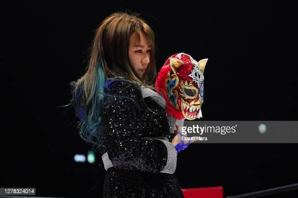 Momo Watanabe enters the ring during the Women's ProWrestling 'Stardom' Yokohama Cinderella at the Yokohama Budokan on October 03 2020 in Yokohama...