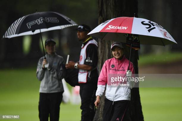 Momoka Miura of Japan smiles during the second round of the Nichirei Ladies at the Sodegaura Country Club Shinsode Course on June 16 2018 in Chiba...