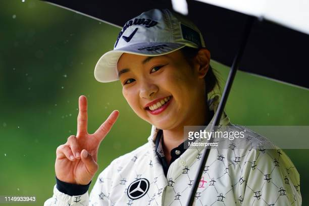 Momoka Miura of Japan smiles on the 3rd hole during the second round of the HokennoMadoguchi Ladies at Fukuoka Country Club Wajiro Course on May 18...