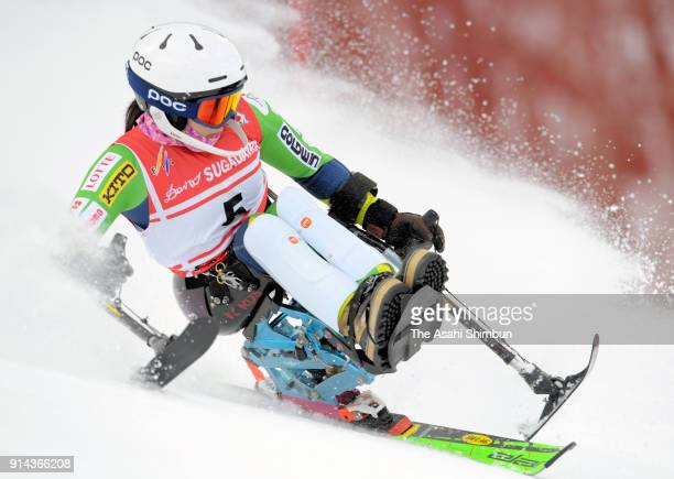Momoka Muraoka competes in the Women's Slalom Sitting during day two of the Japan Para Alpine Skiing Championships at Sugadaira Pine Beak Ski Area on...