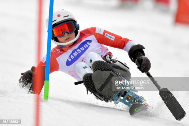Momoka Muraoka of Japan competes in the Alpine Skiing Women's Slalom Sitting during day nine of the PyeongChang 2018 Paralympic Games on March 18...