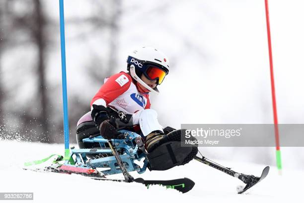 Momoka Muraoka of Japan competes in the competes in the Women's Sitting Slalom at Jeongseon Alpine Centre on Day 9 of the PyeongChang 2018 Paralympic...
