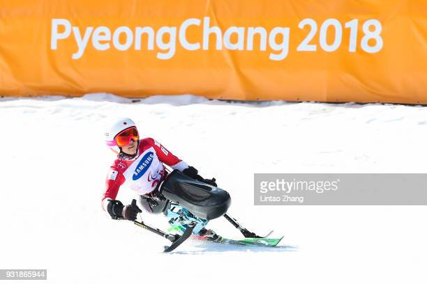 Momoka Muraoka of Japan competes in the Women's Giant Slalom Sitting at the PyeongChang 2018 Paralympic Games on March 14 2018 in Pyeongchanggun...