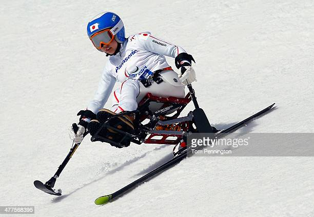 Momoka Muraoka of Japan competes in the Women's SuperG Sitting during day three of Sochi 2014 Paralympic Winter Games at Rosa Khutor Alpine Center on...