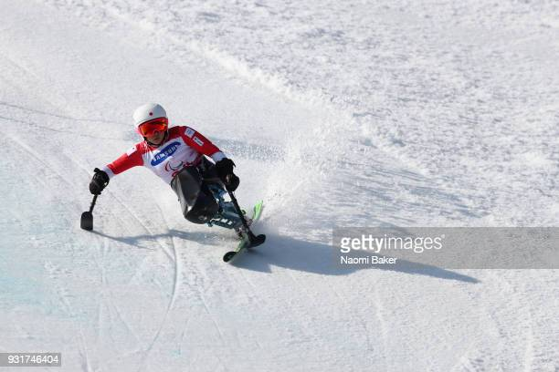 Momoka Muraoka of Japan on her way to the Gold medal in the Women's Giant Slalom Sitting on day five of the PyeongChang 2018 Paralympic Games on...