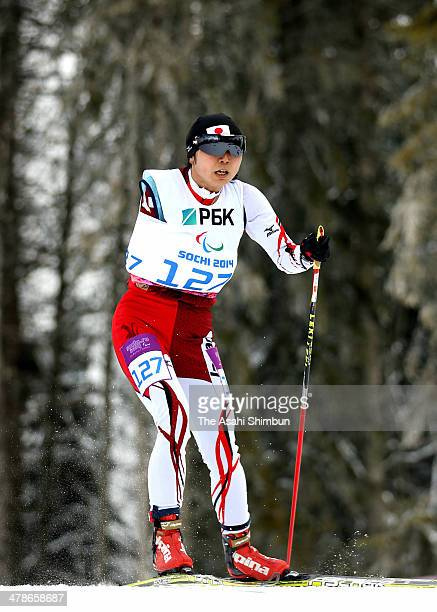 Momoko Dekijima of Japan competes in the Biathlon Women's 125km Standing on day seven of the Sochi 2014 Paralympic Winter Games at Laura Crosscountry...