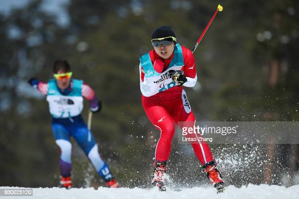 Momoko Dekijima of Japan competes in the Women's 6km Standing Biathlon event at Alpensia Biathlon Centre during day one of the PyeongChang 2018...