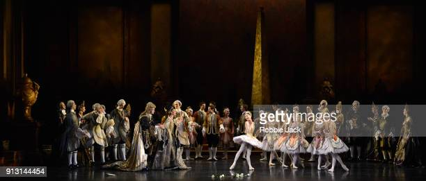 Momoko Hirata as Princess Aurora with artists of the company in Birmingham Royal Ballet's production of Peter Wright's adaptation of Marius Petipa's...