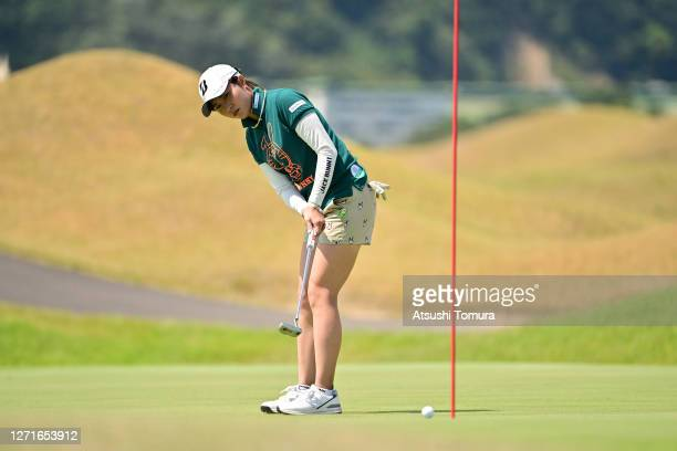 Momoko Osato of Japan attempts a putt on the 9th green during the first round of the JLPGA Championship Konica Minolta Cup at the JFE Setonaikai Golf...