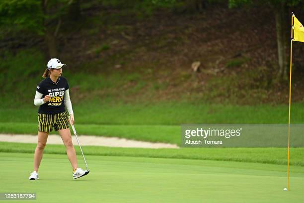 Momoko Osato of Japan celebrates the birdie on the 17th green during the final round of the Earth Mondamin Cup at the Camellia Hills Country Club on...