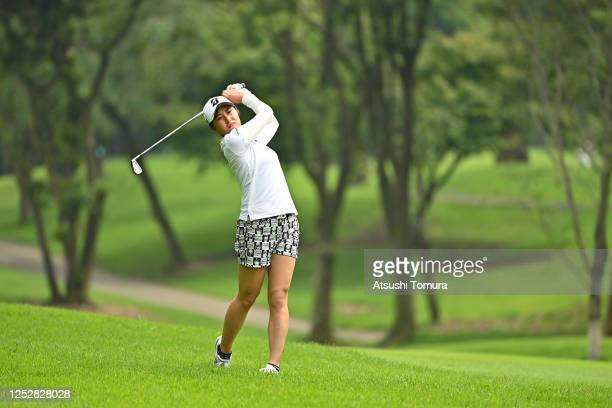 Momoko Osato of Japan hits her second shot on the 14th hole during the third round of the Earth Mondamin Cup at the Camellia Hills Country Club on...