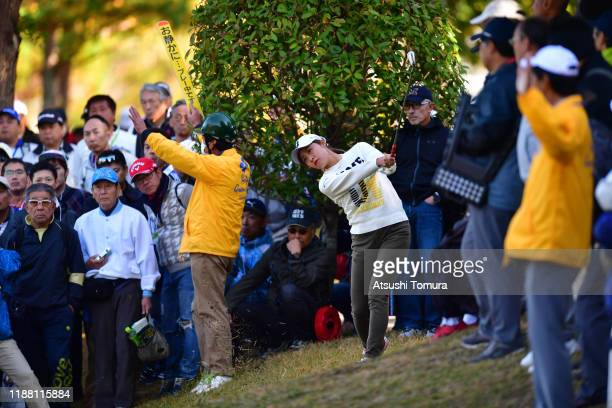 Momoko Osato of Japan hits her second shot on the 1st hole during the final round of the ItoEn Ladies at Great Island Club on November 17 2019 in...