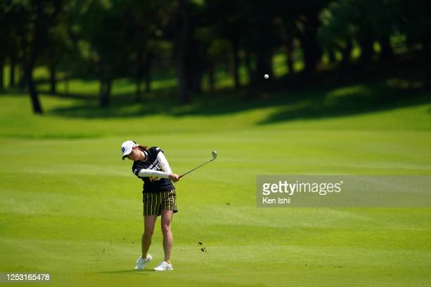 Momoko Osato of Japan hits her second shot on the 5th hole during the final round of the Earth Mondamin Cup at the Camellia Hills Country Club on...