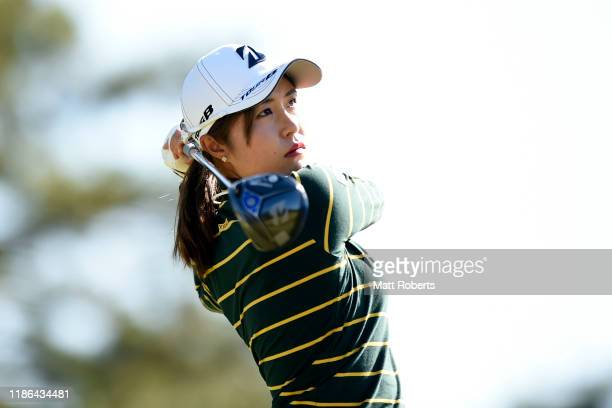 Momoko Osato of Japan hits her tee shot on the 14th hole during the second round of the TOTO Japan Classic at Seta Golf Course North Course on...