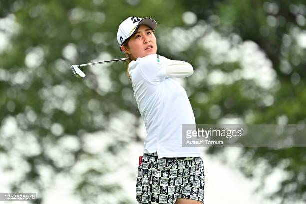 Momoko Osato of Japan hits her tee shot on the 15th hole during the third round of the Earth Mondamin Cup at the Camellia Hills Country Club on June...