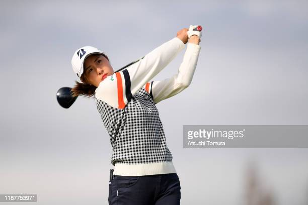 Momoko Osato of Japan hits her tee shot on the 16th hole during the first round of the ItoEn Ladies at Great Island Club on November 15 2019 in...