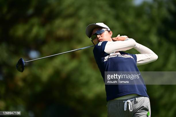 Momoko Osato of Japan hits her tee shot on the 1st hole during the first round of the Nitori Ladies Golf Tournament at the Otaru Country Club on...