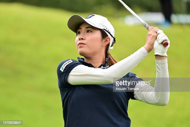 Momoko Osato of Japan hits her tee shot on the 1st hole during the first round of the GOLF5 Ladies Tournament at the GOLF5 Country Mizunami Course on...